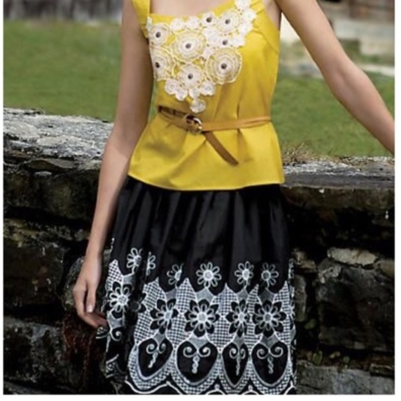 eaeeb64bce Anthropologie Skirts | Weston Wear Cicmany Black White Floral Skirt ...